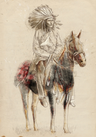 apache: Indian chief sitting on a horse