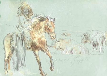 Indian Chief riding a horse, watching buffalo herd   photo