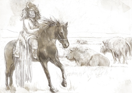 chieftain: Indian Chief riding a horse, watching buffalo herd
