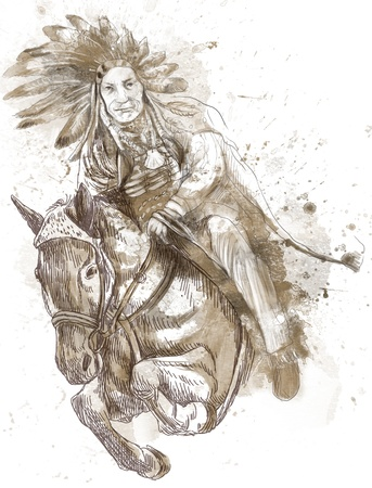 Indian Chief riding a horse and jumping over a hurdle  photo