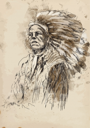 red indian: Indian - hand drawing converted into vector
