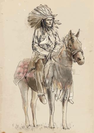 indio americano: Red Indian - dibujo a mano