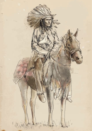 native american art: Red Indian - hand drawing