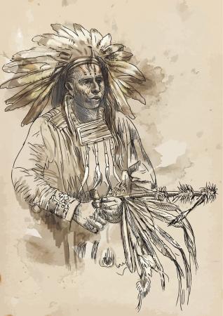 chieftain: Indiano - disegno a mano convertito in vettore Vettoriali