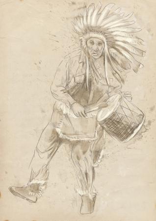 capo indiano: Capo indiano suona il tamburo e la danza Archivio Fotografico