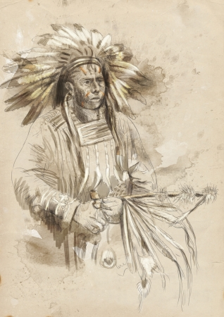peace pipe: Indian chief holding a peace pipe  Stock Photo
