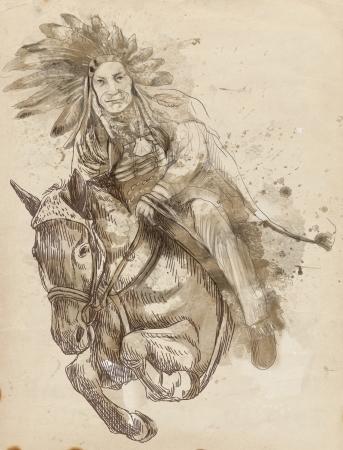 capo indiano: Capo indiano a cavallo e saltare su un ostacolo Archivio Fotografico