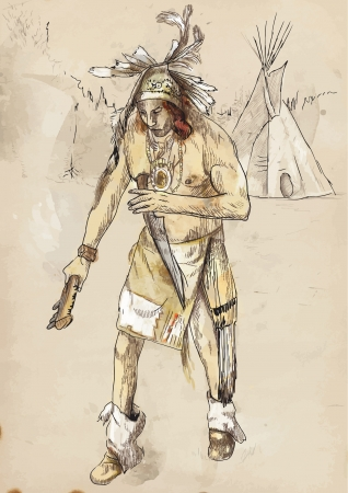 sioux: Indian on the warpath  dug battle-axe  Illustration