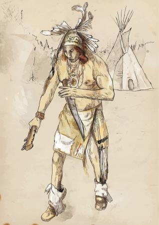 avenger: Indian on the warpath  dug battle-axe  Illustration