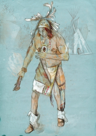 sioux: Indian on the warpath  dug battle-axe  Stock Photo