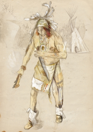 avenger: Indian on the warpath  dug battle-axe  Stock Photo