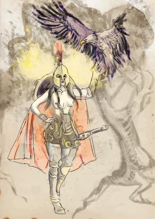 Athena - die Göttin der Weisheit, Mut, Inspiration, Zivilisation, Recht und Gerechtigkeit Vektorgrafik