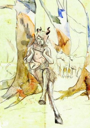 faun: Pan - Is the god of the wild, shepherds and flocks Stock Photo