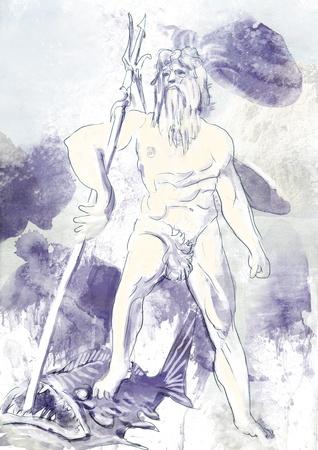 pantheon: Poseidon - Is one of the twelve Olympian deities of the pantheon Stock Photo