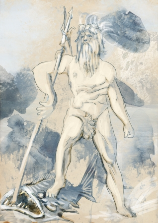 deities: Poseidon - Is one of the twelve Olympian deities of the pantheon Stock Photo