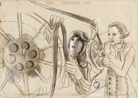 editing room - an hand drawing illustration