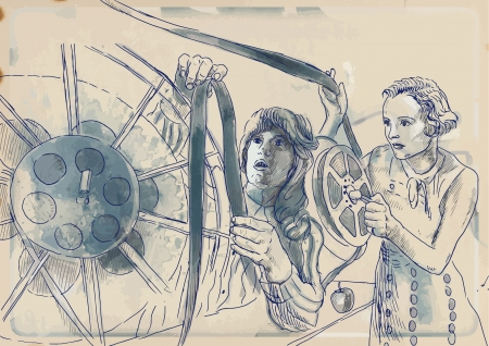 film history: From history to the present - the art of film  Working in film editing room  Illustration