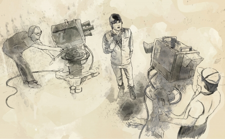 showman: From history to the present - the art of film  Do an interview  Illustration