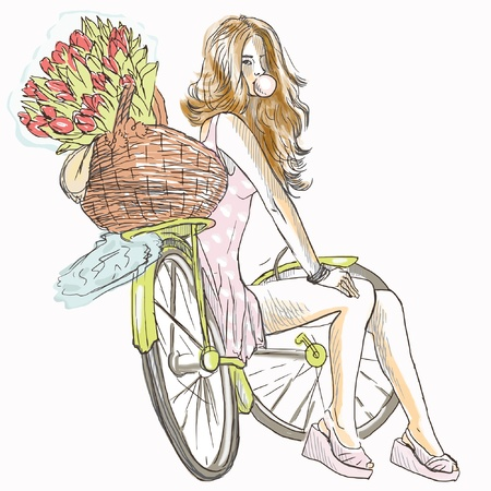 Girl resting on a bicycle and blowing bubbles Vector
