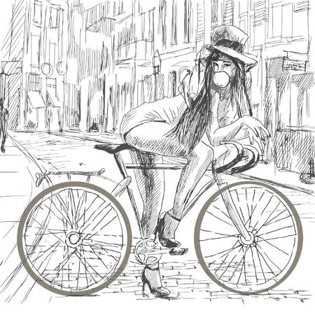 Chica descansando sobre una bicicleta y hacer burbujas