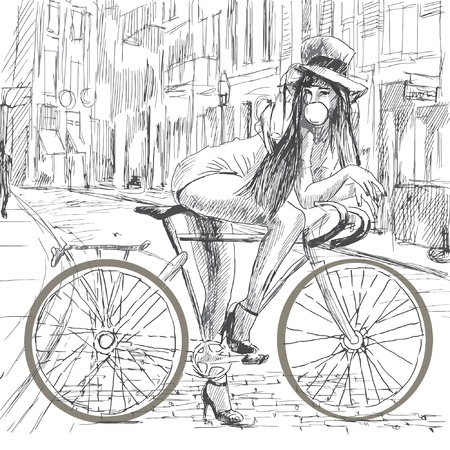 draws: Girl resting on a bicycle and blowing bubbles Illustration
