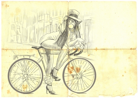 belle: Girl resting on a bicycle and blowing bubbles Stock Photo