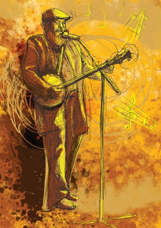 bearded man: The bearded man playing the banjo and singing into a microphone Illustration