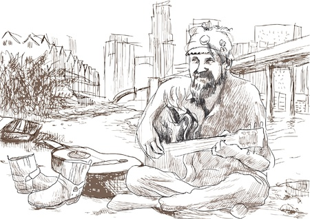 The bearded hippie man playing the guitar