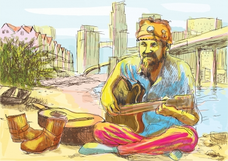 man playing guitar: The bearded hippie man playing the guitar