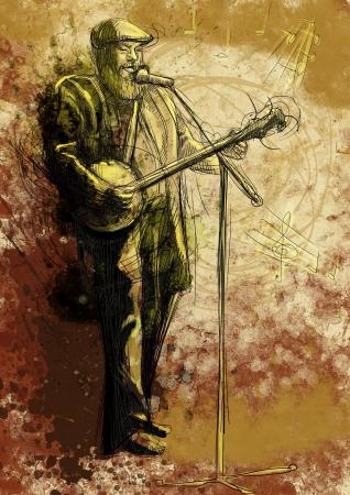 bärtiger mann: Der b�rtige Mann das Banjo spielt und singt in ein Mikrofon Lizenzfreie Bilder