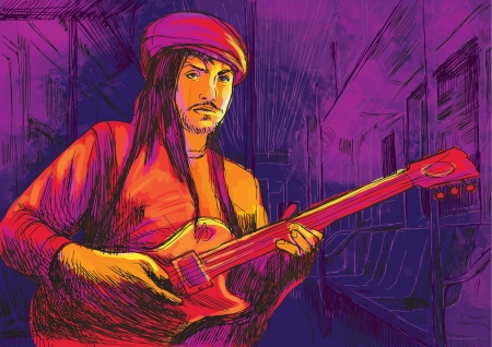 masters of rock: guitar player  hand drawing converted into vector