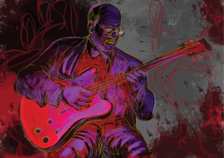 virtuoso: guitar player  hand drawing converted into vector