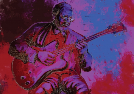improvisation: guitar player  hand drawing converted into vector