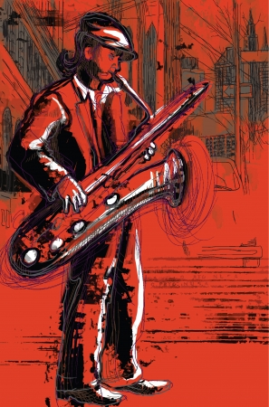 masters of rock: sax player  hand drawing converted into vector