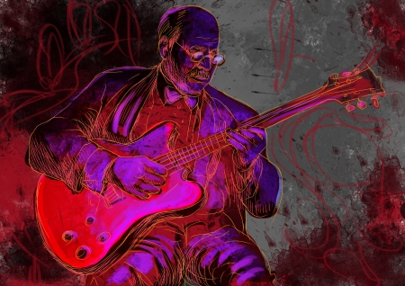 masters of rock: guitar player  full sized hand drawing - original