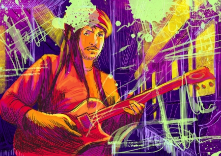 virtuoso: guitar player  full sized hand drawing   Stock Photo