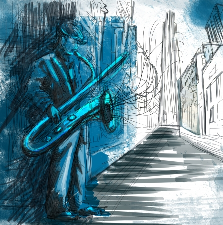 jazz music: sax player  full sized hand drawing - original