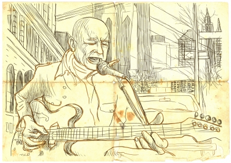 guitar player - a hand drawn illustration illustration