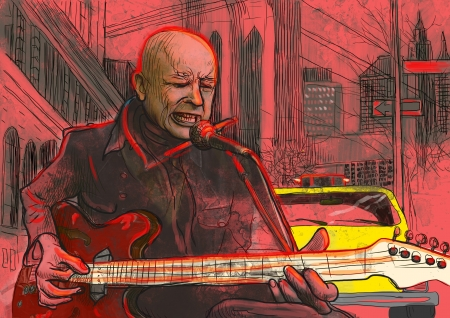 A hand drawn illustration - Guitar Player illustration