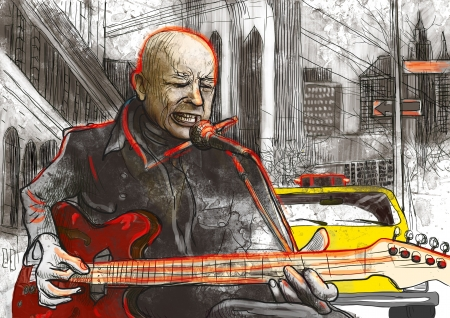 virtuoso: guitar player  full sized hand drawing - original