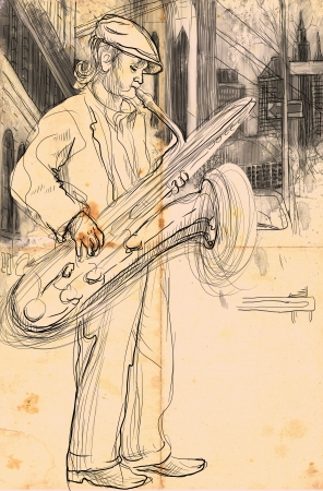 A hand drawn illustration - Saxophone Player illustration