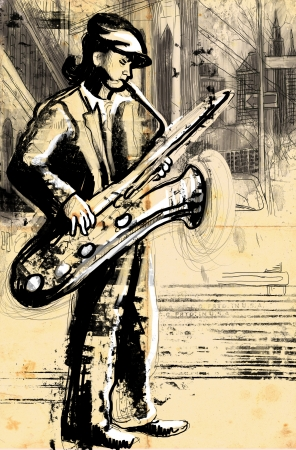sax player  full sized hand drawing photo