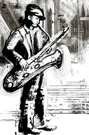 saxophone player  full sized hand drawing - original   photo
