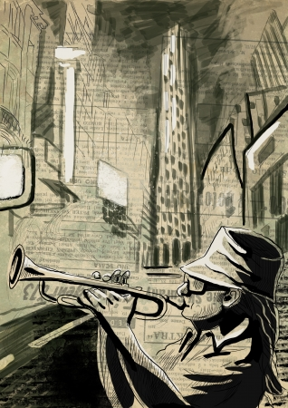 A hand drawn illustration - Trumpet Player illustration