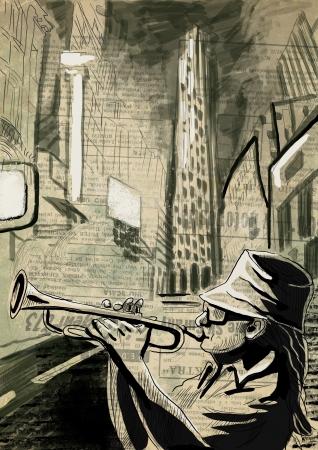 virtuoso: A hand drawn illustration - Trumpet Player