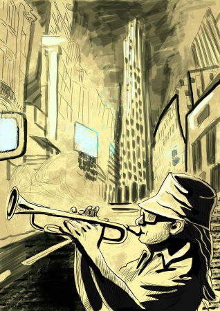 trumpet player  full sized hand drawing - original   photo