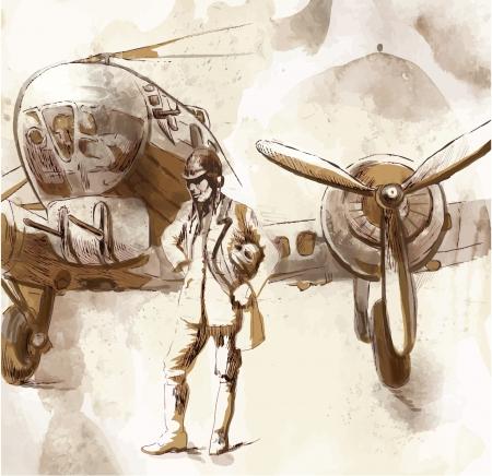 Mondiale tra 1905-1949 - disegno Pilot Archivio Fotografico - 19794397