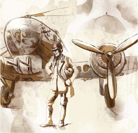 fighter pilot: World between 1905-1949 - Pilot  drawing