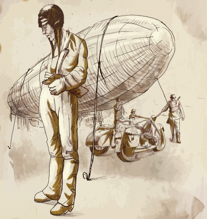 World between 1905-1949 - Airship pilot  drawing Vector