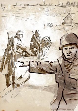 手描きイラスト - ドイツの兵士